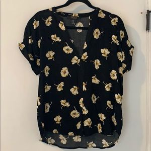 Black and floral print top